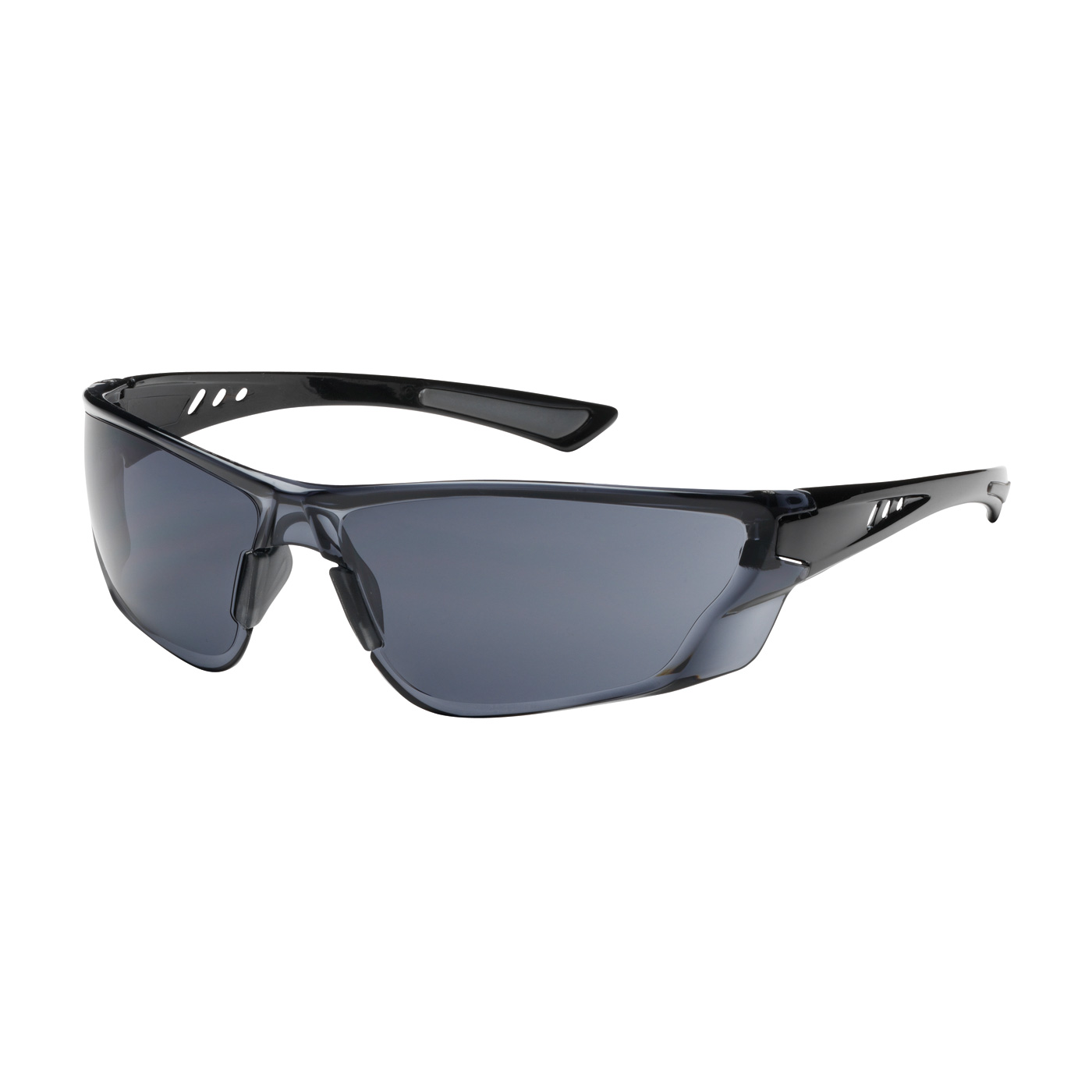 PIPR 250-32-0521 Rimless Safety Glasses with Gloss Black Temple, Gray Lens and Anti-Scratch / FogLess 3Sixty Coating
