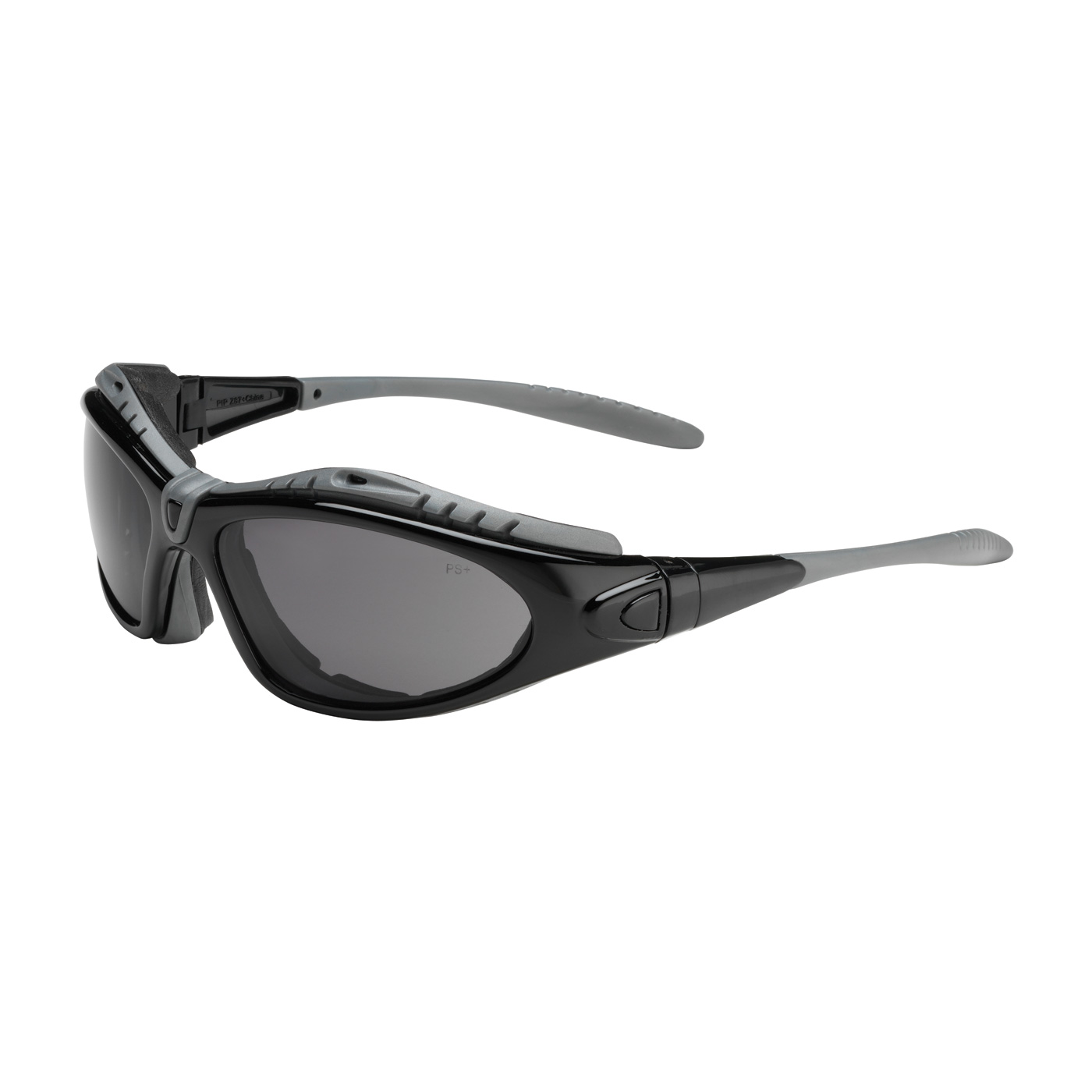 PIPR 250-50-0521 Full Frame Safety Glasses with Black Frame, Foam Padding, Gray Lens and Anti-Scratch / FogLess® 3Sixty™ Coating