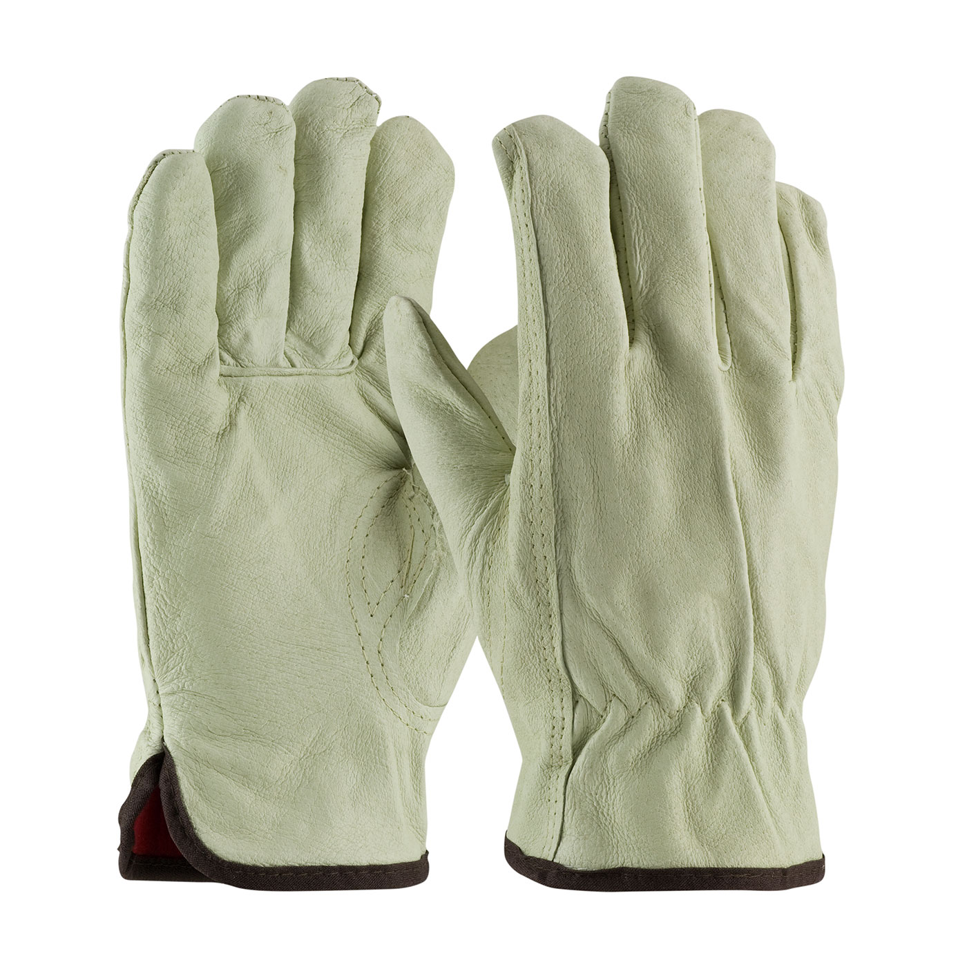 Top Grain Pigskin Leather Glove with Red Thermal Lining case of 72 pairs