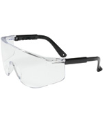 PIPR 250-03-0080 EYEWEAR, ZENON Z28, RIMLESS FRONT, SAFETY GLASSES BLACK TEMPLES ONLY, CLEAR LENS