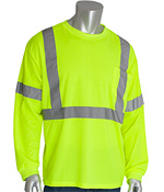 PIPR 313-1300-LY/M CLASS 3 LONG SLEEVE CREW NECK WICKING POLYESTER T-SHIRT, 1 POCKET LIME YELLOW MEDIUM